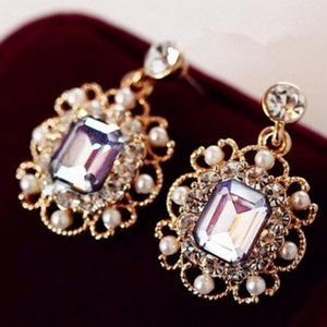 Crystal small Jewelry Pearls Square Earrings